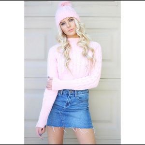Forever 21 pink beanie with faux fur ball. OS